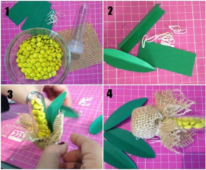 Confira a ordem do passo a passo para fazer um tubete de milho verde (Foto: Montagem sobre fotos de Arquivo Pessoal)