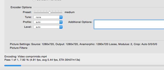 Para encolher um vídeo de 135 MB para 35 MB, o Handbrake levou cerca de 7 minutos (Foto: Reprodução/Paulo Alves)