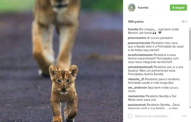 Flávio Saretta, marido de Suzana Alves, anuncia nascimento do filho (Foto: Reprodução / Instagram)