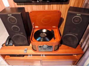 Além de vinil, o equipamento adquirido por Tiago Rodrigues reproduz outros formatos de mídia musical. (Foto: Rivângela Gomes/G1)