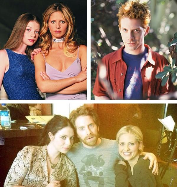 O elenco de 'Buffy, A Caça-Vampiros' e na segunda foto, Michelle Trachtenberg, Seth Green e Sarah Michelle Gellar hoje em dia (Foto: Reprodução / Twitter)