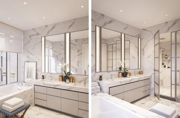 Banheiro de um apartamento do 70 Vestry (Foto: Divulgação/Related)