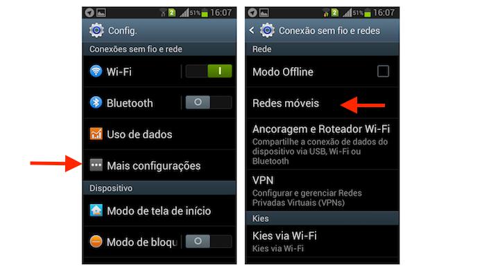 Acessando as opções para redes móveis do Galaxy Gran Duos (Foto: Reprodução/Marvin Costa)