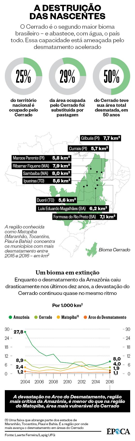 A DESTRUIÇÃO DAS NASCENTES O Cerrado é o segundo maior bioma brasileiro – e abastece, com água, o país todo. Essa capacidade está ameaçada pelo desmatamento acelerado (Foto: Fonte: Laerte Ferreira/Lapig UFG)