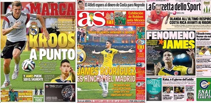 Montagem Capas jornais James Rodríguez (Foto: Editoria de Arte)