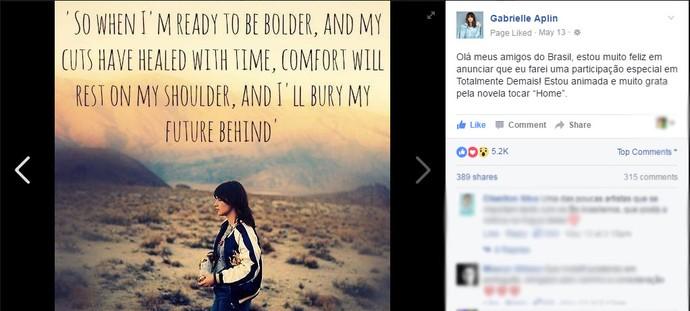Gabrielle Aplin marca presença nas redes sociais e anunciou sua partipação na novela em post (Foto: Reprodução)