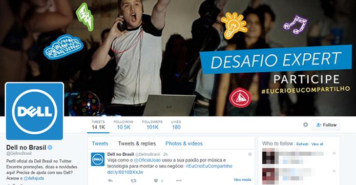 Twitter da Dell responde menções e DMs (Foto: Reprodução/Aline Jesus)