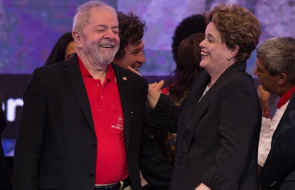 O ex-presidente Lula e a ex-presidente Dilma, durante congresso do PT, em Brasília (Foto: Lula Marques/Agência PT)