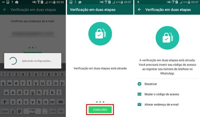 A verificação em duas etapas no WhatsApp será confirmada (Foto: Reprodução/Aline Batista)