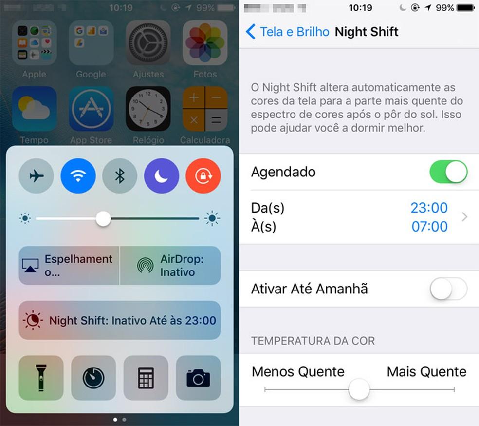Nightshift é um recurso exclusivo do iOS (Foto: Reprodução/Pedro Cardoso)