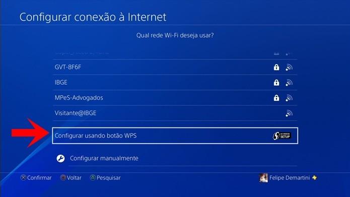 Conexão via WPS pode ser solução para os problemas do PS4 com a rede Wi-Fi (Foto: Reprodução/Felipe Demartini)