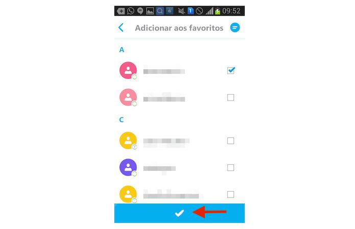 Adicionando um contato favorito no Skype para Android (Foto: Reprodução/Marvin Costa)