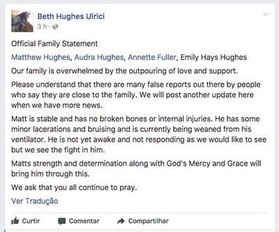 Comunicado da família de Matt Hughes (Foto: Reprodução/Facebook)