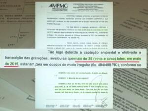 Escutas telefônicas apontam 35 lotes distribuídos de forma irregular (Foto: TV Integração/Reprodução)