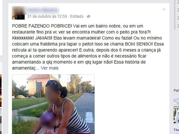 Postagem critica amamentação 'com peito pra fora' em rede social  (Foto: Reprodução / Facebook)