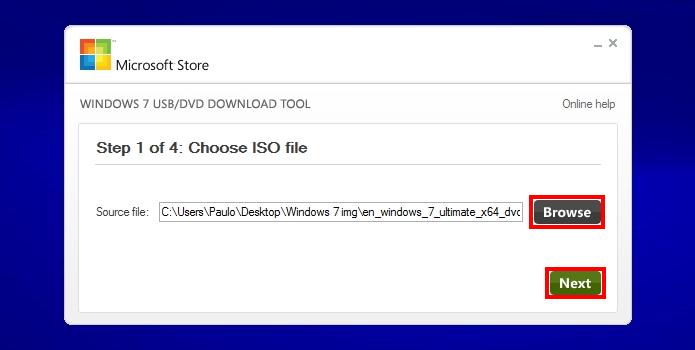 Insira a imagem do Windows 7 obtida do DVD ou comprada no site (Foto: Reprodução/Paulo Alves)