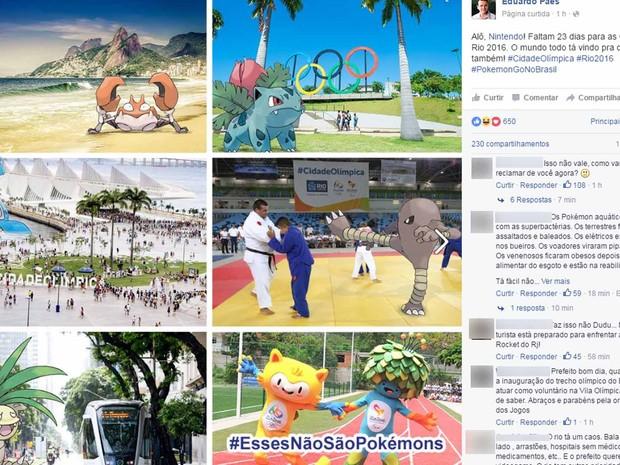 Com proximidade da Olímpida, o prefeito Eduardo Paes convidou Nintendo a trazer a febre Pokémon Go para o Rio (Foto: Reprodução internet) (Foto: Reprodução/Facebook)