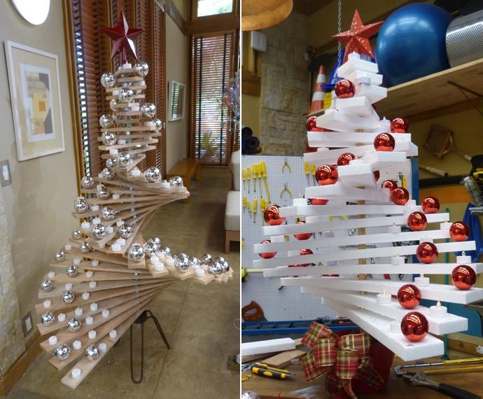 À direita, a árvore de Natal de madeira, e à esquerda, a árvore de Natal de isopor (Foto: Larissa Moggi / Gshow)