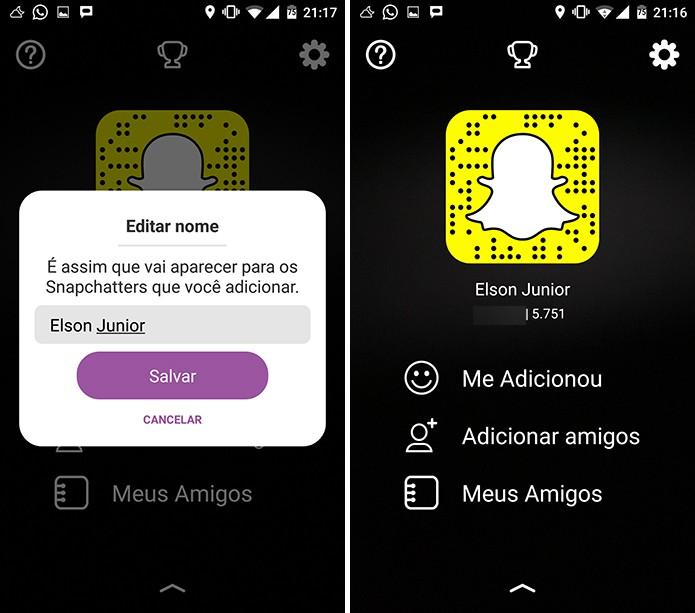 Snapchat pode exibir nome diferente do seu nickname para os seus amigos (Foto: Reprodução/Elson de Souza)