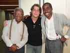 Fábio Assunção visita Lázaro Ramos e Milton Gonçalves no estúdio