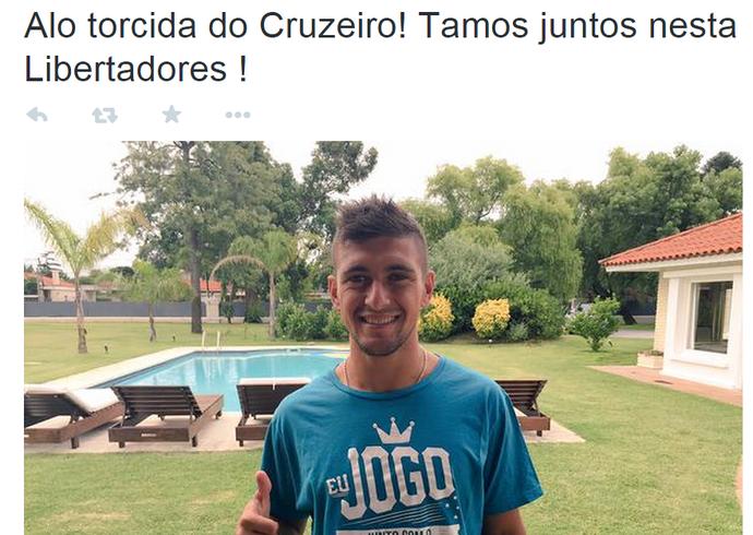 Reforço do Cruzeiro, meia De Arrascaeta publicou mensagem de saudação ao torcedores do time celeste (Foto: Reprodução/Internet)