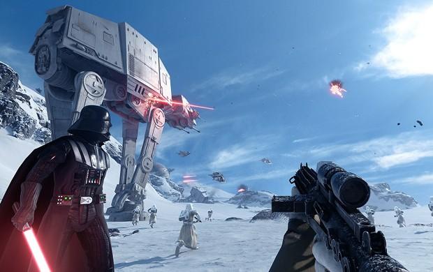 Você pode controlar vários personagens famosos de 'Star Wars' em 'Battlefront', como o maior vilão de todos os tempos, Darth Vader (Foto: Divulgação/Electronic Arts)