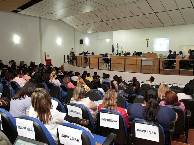 Plenário do Tribunal do Júri estava lotado (Foto: Edson Rodrigues/ Secom-MT)