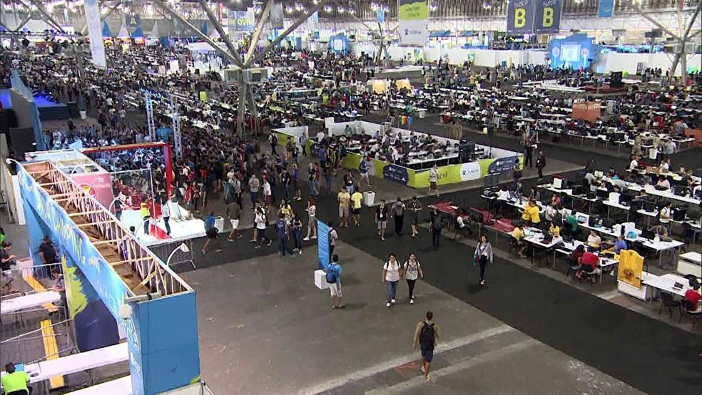 Pavilhão da Campus Party 2017 em São Paulo, em imagem de arquivo (Foto: TV Globo/Reprodução)
