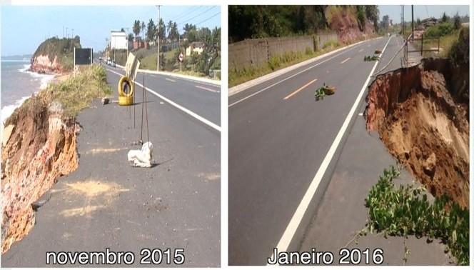 A erosão danificou ainda mais o acostamento da Rodovia do Sol (Foto: Reprodução/ TV Gazeta)