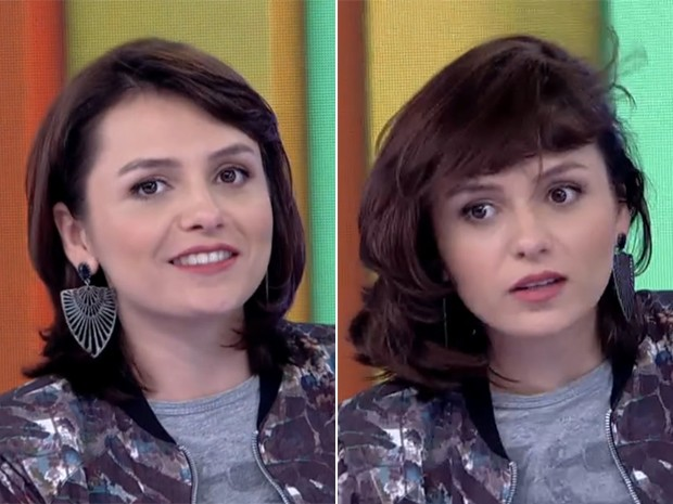 Antes e depois! Monica Iozzi segue dica de cabelo de Giovanna Ewbank (Foto: Vídeo Show / TV Globo)