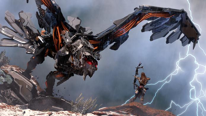 Horizon: Zero Dawn coloca o jogador contra monstros gigantes (Foto: Divulgação/Sony) (Foto: Horizon: Zero Dawn coloca o jogador contra monstros gigantes (Foto: Divulgação/Sony))