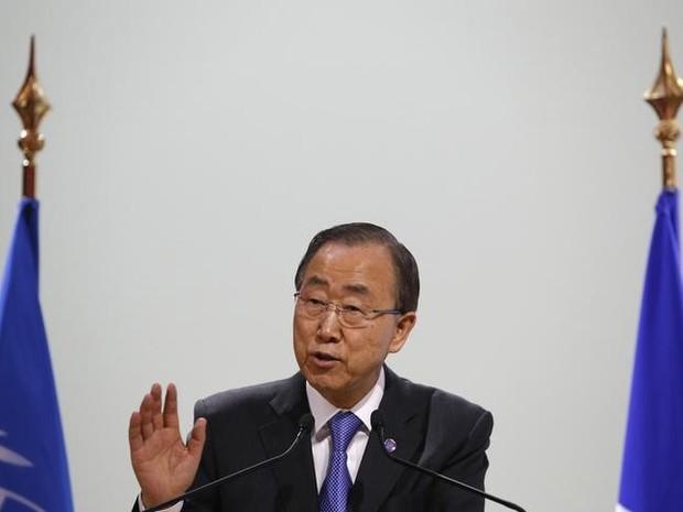 O secretário-geral da ONU, Ban Ki-moon, em foto desta segunda-feira (7) na COP21 em Paris (Foto: Stephane Mahe/Reuters)
