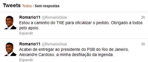 Mensagens postadas pelo deputado Romário no microblog Twitter (Foto: Reprodução)