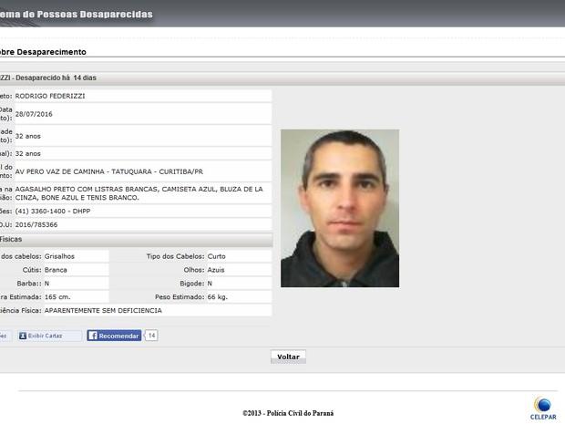 Policial está desaparecido desde o dia 28 de julho (Foto: Reprodução)