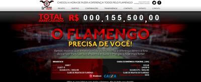 Flamengo da Nação tem um contador da arrecadação em seu site (Foto: Reprodução)