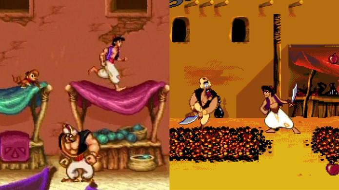 Aladdin do Super Nintendo à esquerda e do Mega Drive à direita (Foto: GameInformer)