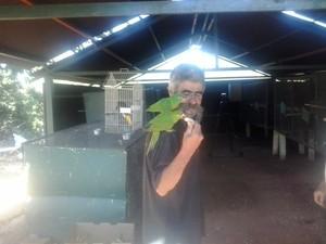 Caseiro José Maria da Silva ajuda na reabilitação dos animais. (Foto: Giliardy Freitas / TV TEM)