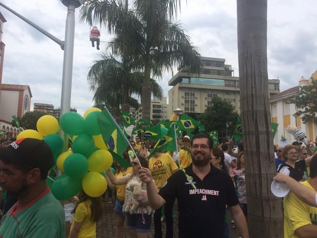 Cerca de 500 protestaram em Chapecó (Foto: Divulgação)