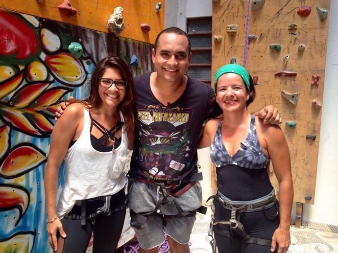 Karine Gois (surfista), Menilson Filho (apresentador) e Adiana Alves (instrutora de escalada) (Foto: Fernando Petrônio)