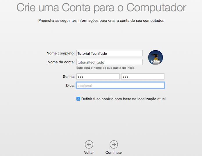 Criando uma nova conta de usuário (Foto: Reprodução/Helito Bijora)