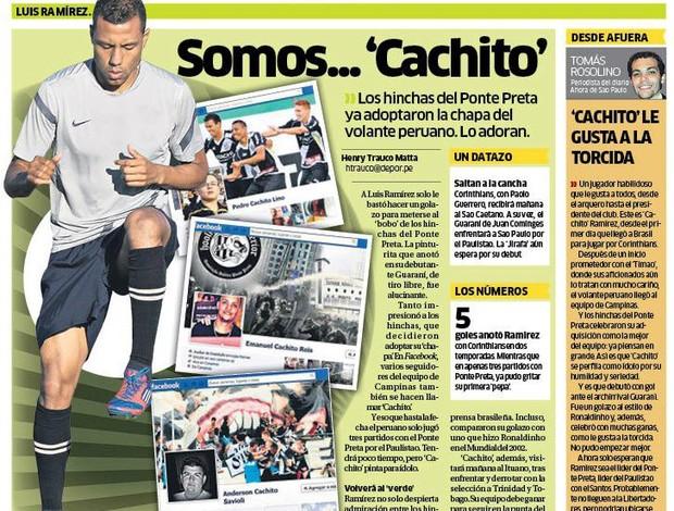 Ramírez é destaque na imprensa do Peru (Foto: Reprodução / Depor)