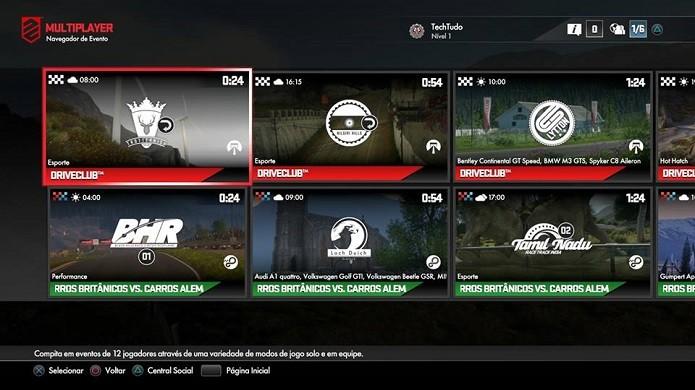 Driveclub: menu de escolha de evento multiplayer (Foto: Reprodução/Emanuel Schimidt)