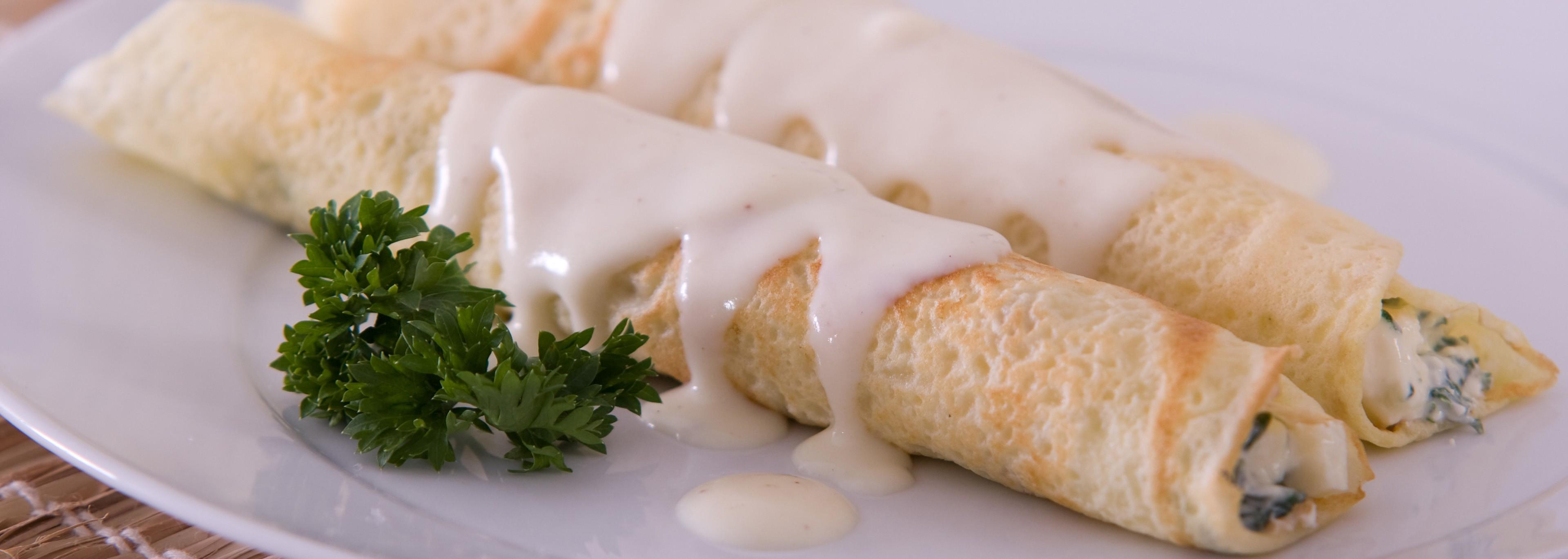 Panqueca de queijo minas com espinafre (Foto: Reproduo)
