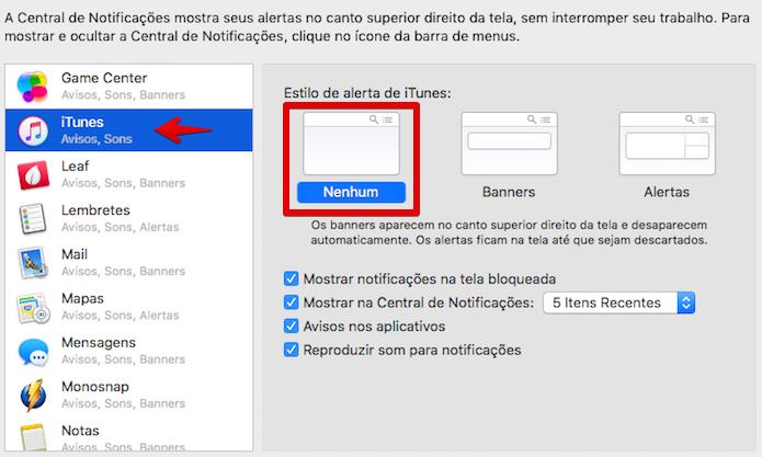 Desativando as notificações do iTunes (Foto: Reprodução/Helito Bijora)