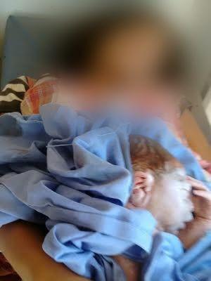 Beb� ficou com a apar�ncia cian�tica e massagem 'salvou' a vida dele, diz bombeiro. (Foto: Divulga��o/Bombeiros)