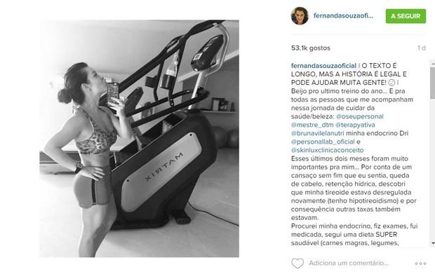 Fernanda Souza faz último treino de 2015 (Foto: Reprodução/Instagram)