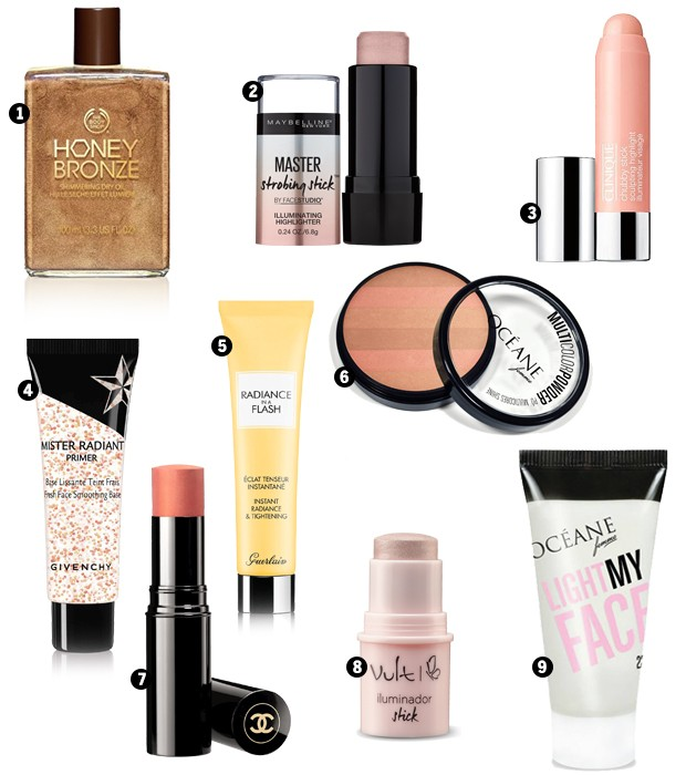 1. Honey Bronze, The Body Shop, R$ 172; 2. Face Studio Master Strobing Stick, Maybelline, R$ 49; 3. Chubby Stick Sculpting Highlight, Clinique, R$ 119; 4. Mister Radiant Primer, Givenchy, R$ 219; 5. Radiance in a Flash, Guerlain, R$ 120; 6. Multi Color Powder bronzer, OCÉANE, R$ 57,90; 7. Stick Belle Mine Naturelle N°24 Coral, Chanel, preço sob consulta; 8. Stick iluminador cor 05, Vult, R$ 38,50; 9. Iluminador Light My Face, OCÉANE, R$ 48,80. (Foto: Divulgação)