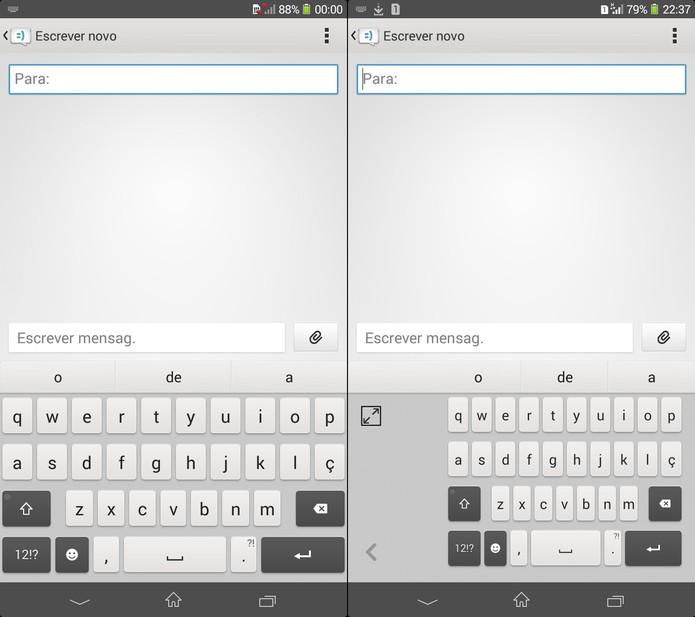 Teclado nativo do Xperia T2 Ultra Dual com visual tradicional ao lado da versão adaptada ao uso com uma só mão (Foto: Reprodução)