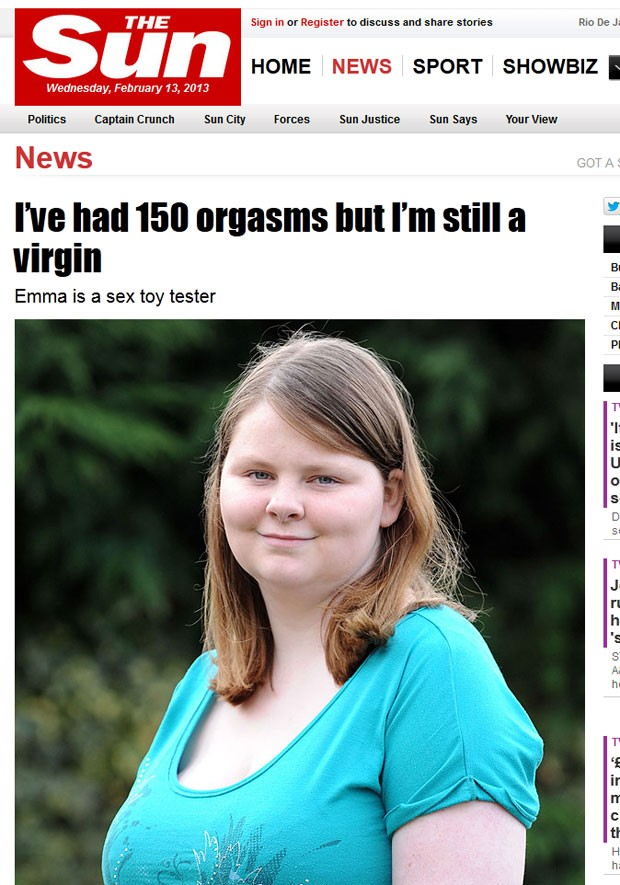 Emma Richards disse que já teve mais de 150 orgasmos, apesar de ainda ser virgem (Foto: Reprodução/The Sun)