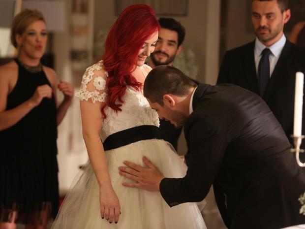 João Lucas se emociona em casamento (Foto: Pedro Curi/ Gshow)